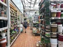 Shopping, vendendo flores e equipamento de jardinagem As flores belamente empacotadas em uns potenciômetros estão em prateleiras Fotos de Stock