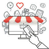 Shopping via internet connection Royalty Free Stock Photo