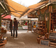 Shopping in Viktualien Markt , Munich - Germany. Munich, Viktualien markt open air market, famous touristic attraction stock image