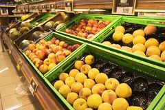 Shopping vitamine 2. Fruits for sale in the grocery Stock Image
