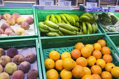 Shopping vitamine. Fruits for sale in the grocery Royalty Free Stock Photo