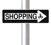 Shopping This Way. A modified one way sign indicating Shopping. (Silhouette terms and conditions allow for commercial usage Stock Images