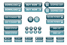 Shopping web buttons blue Stock Images