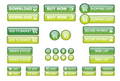 Shopping web buttons green Royalty Free Stock Image