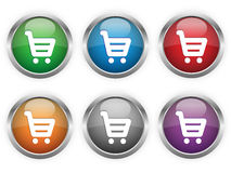 Shopping web buttons. In six colors royalty free illustration
