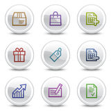 Shopping web colour icons, white circle buttons Royalty Free Stock Photo