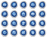 Shopping web icons. Vector web icons, blue circle buttons series