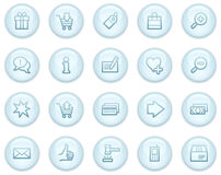 Shopping web icons. Vector web icons, light blue circle buttons series Royalty Free Stock Photography