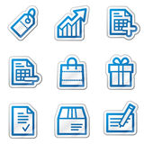 Shopping web icons, blue contour sticker series Royalty Free Stock Images