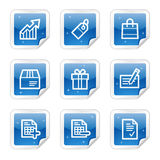 Shopping web icons, blue sticker series. Vector web icons, blue glossy sticker series royalty free illustration