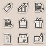 Shopping web icons, brown contour sticker series stock illustration