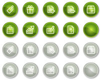 Shopping web icons, green and grey circle buttons Royalty Free Stock Photography