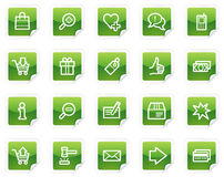 Shopping web icons, green sticker series Royalty Free Stock Photos