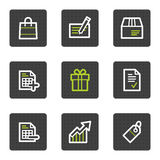 Shopping web icons set 1, grey square buttons. Vector web icons set. Easy to edit, scale and colorize stock illustration