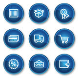 Shopping web icons set 2, blue circle buttons. Vector web icons set. Easy to edit, scale and colorize vector illustration