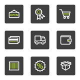 Shopping web icons set 2, grey square buttons. Vector web icons set. Easy to edit, scale and colorize vector illustration