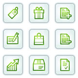Shopping web icons, white square buttons series Stock Photography