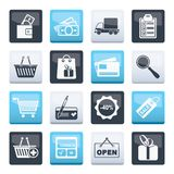Shopping and website icons over color background. Vector icon set stock illustration