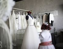 Shopping for wedding dress gown royalty free stock photography