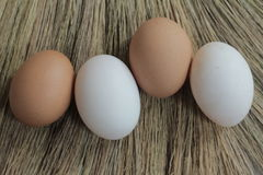 Eggs and duck eggs. Shopping white and brown fresh hens eggs on my hand Royalty Free Stock Photo