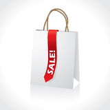 Shopping white paperbag with red ribbon. Shopping white paperbag with red sale ribbon Royalty Free Stock Photo