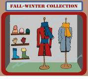 Shopping window. Fall winter collection in a shopping window. Coloured illustration, front view. Vector Stock Images