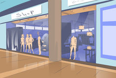 Shopping Window Modern Luxury Shop in Mall Center Royalty Free Stock Photo
