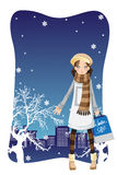 Shopping winter girl Stock Images