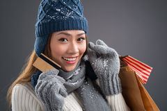 Shopping in winter season Royalty Free Stock Photography