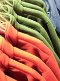 Shopping for winter - warm multicolored fleece stock photography
