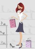 Shopping woman. Cartoon character shopping illustration vector Royalty Free Stock Photography