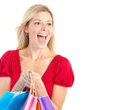 Shopping  woman. Shopping happy  woman. Isolated over white background Stock Image