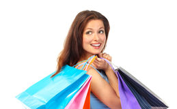 Shopping  woman. Shopping happy  woman. Isolated over white background Stock Photo
