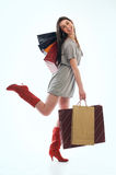 Shopping woman. Young happiness woman holding several shopping bags Stock Images