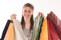 Shopping woman. Happiness cute woman holding several shopping bags Stock Image