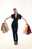 Shopping woman. Young cute woman holding several shopping bags Stock Image