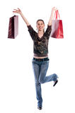 Shopping woman. Young happiness woman holding several shopping bags Royalty Free Stock Images