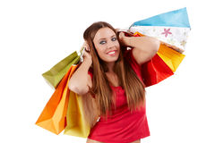 Shopping woman. Attractive shopping woman with colorful bags Stock Images