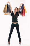 Shopping woman. Young cute woman holding several shopping bags Stock Photo