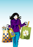 Shopping woman. Illustration of a woman with shopping bags royalty free illustration