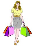 Shopping woman. Vector illustration of a woman with shopping bags Vector Illustration