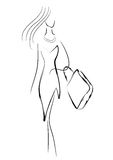 Shopping woman. Vector stylized woman standing with a bag Royalty Free Stock Photo