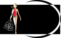 Shopping Woman. An illustrated background showing a woman carrying shopping bags Royalty Free Stock Photography