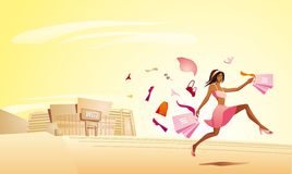 Shopping woman. Pretty shopping woman running out of the mall. Full editable vector illustration Stock Images