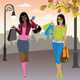 Shopping woman on the background of the city Stock Images