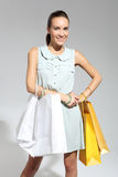 Shopping woman with bag.  eco shopping Stock Images