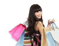 Shopping woman with bags Stock Photography