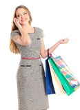 Shopping woman with bags Stock Photos