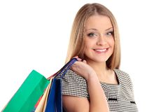 Shopping woman with bags Stock Photo