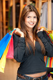Shopping woman with bags Stock Images